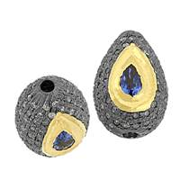 Gold Plated Sterling Silver Drop Sapphire Diamond Bead