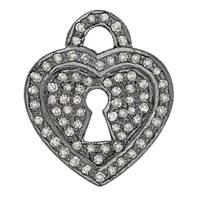 Rhodium Silver Heart Lock Diamond Charm 20mm