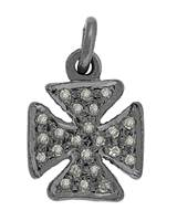 Rhodium Silver Cross Diamond Charm 10mm