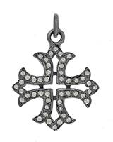 Rhodium Silver Cross Diamond Charm 18mm