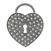 Rhodium Silver Heart Lock Diamond Charm 17mm