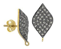 Gold Plated Sterling Silver Diamond Stud Earring