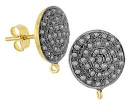 Rhodium Sterling Silver Diamond Disc Earring