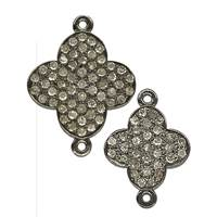Rhodium Silver Clover Diamond Connector C-5