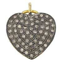 Rhodium Sterling Silver 15mm 62pts Diamond Heart Charm