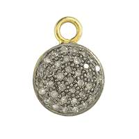 Rhodium Silver Disc 10mm Diamond Charm 10mm