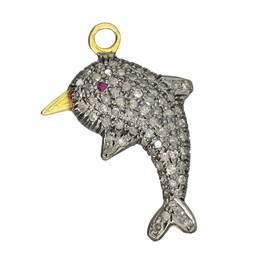 Rhodium Silver Dolphin Diamond Charm 22mm