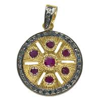 Rhodium Silver 20mm Disc Ruby Diamond Charm