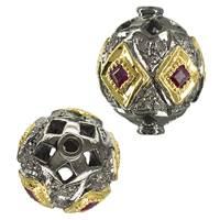 Rhodium Sterling Silver Pink Sapphire Diamond Bead