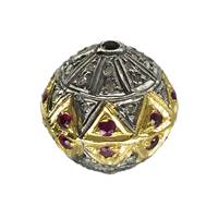 Gold Plated Sterling Silver Ball Ruby Diamond Bead