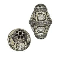 Rhodium Sterling Silver Barrel Diamond Bead B-14
