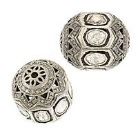 Rhodium Sterling Silver Barrel Diamond Bead B-27