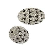 Rhodium Sterling Silver Rice Diamond Bead B-10