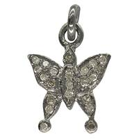 Rhodium Silver Butterfly Diamond Charm 11mm