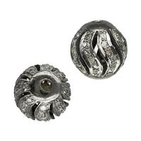 Rhodium Sterling Silver Ball Spiral Diamond Bead