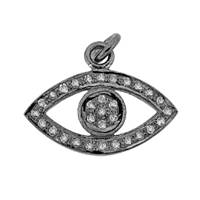 Rhodium Silver Eye Diamond Charm 19mm