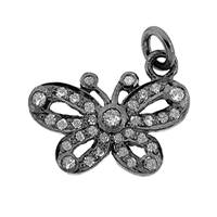 Rhodium Silver Butterfly Diamond Charm 18mm