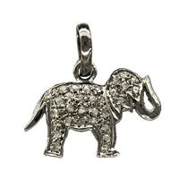 Rhodium Silver Elephant Diamond Charm 22mm