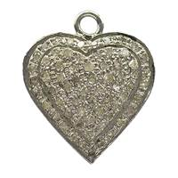 Rhodium Silver Heart Diamond Charm 18mm