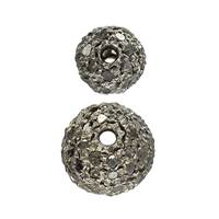 Rhodium Sterling Silver Ball Black Diamond Beads