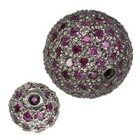 Rhodium Sterling Silver Pink Sapphire Bead