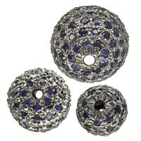 Rhodium Sterling Silver Blue Sapphire Bead
