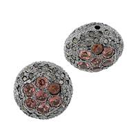 Rhodium Silver Coin Garnet Diamond Bead