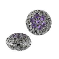 Rhodium Silver Coin Amethyst Diamond Bead