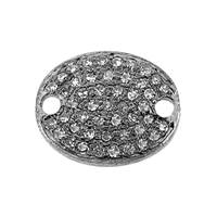 Rhodium Sterling Silver Oval Diamond Connector C-1