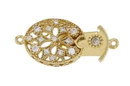 Gold Vermeil Cubic Zirconia Oval Box Clasp