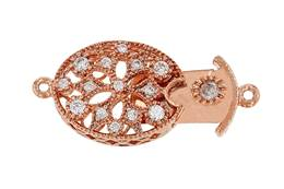 Rose gold Vermeil Cubic Zirconia Oval Box Clasp