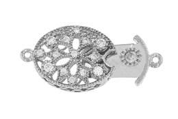 Rhodium Silver Cubic Zirconia Oval Box Clasp 14x10mm