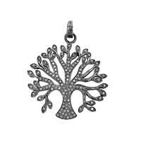 Rhodium Sterling Silver Diamond Tree Pendant 38mm