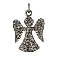 Rhodium Sterling Silver 48pts 23mm Diamond Angel Charm