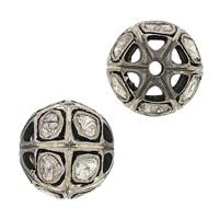 Rhodium Sterling Silver 70pts 12mm Diamond Ball Bead