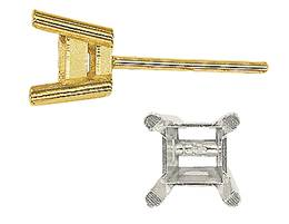 4 PRONG FLAT GALLERY SQUARE EARRING