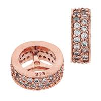 Rose Gold Vermeil 10X4mm Cubic Zirconia Rondelle Bead