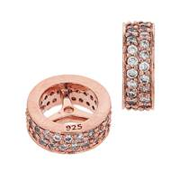 Rose Gold Vermeil 9X3.5mm Cubic Zirconia Rondelle Bead