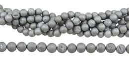Silver Druzy Agate Bead Ball Shape