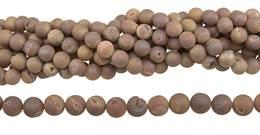 Peach Druzy Agate Bead Ball Shape