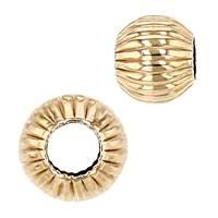 14K Corrugated Round Beads