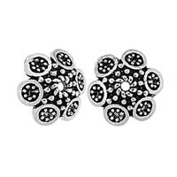 Oxidized Sterling Silver Flower 10.2mm Bead Cap