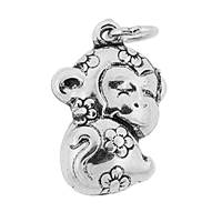 Oxidized Sterling Silver Puffy Monkey Charm 18mm