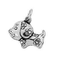 Oxidized Sterling Silver Puffy Dog Charm 16.8mm