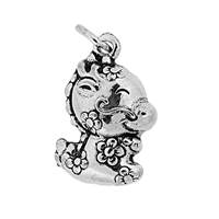 Oxidized Sterling Silver Puffy Dragon Charm 17.7mm