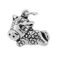 Oxidized Sterling Silver Puffy Cow Charm 17mm
