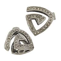 Rhodium Sterling Silver Triangle Diamond Bead