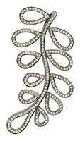 Rhodium Silver Diamond Leaf Pendant 66mm