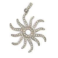 Rhodium Silver Diamond Sun Pendant 30mm