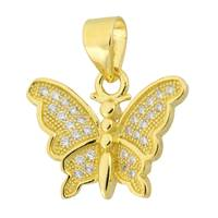Vermeil Gold Cubic Zirconia Butterfly 17mm Charm